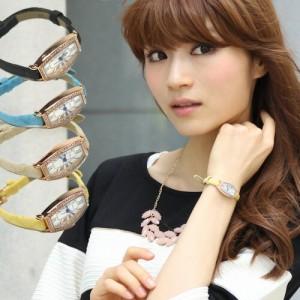 「なでしこ」ラインストーン付き型押し風本革ベルト腕時計 腕時計 レディース