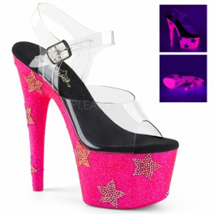 a3347b0761ff9 取寄せ靴 送料無料 ラメ ラインストーン スターマーク 蛍光色 厚底 サンダル 17.5cmピンヒール