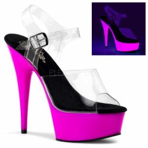 取寄せ靴 送料無料 甲ベルト 蛍光色 厚底サンダル 15cmピンヒール クリアネオンパープル プリーザー