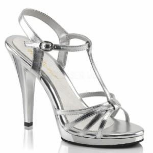 取寄せ靴 送料無料 新品 ベルト付き Tストラップ 薄厚底サンダル 11.5cmヒール 銀 シルバー つや消し クリア Pleaserプリーザー