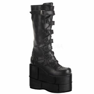 取寄せ靴 送料無料 メンズ ウェッジソール 厚底 ブーツ ベルト シューズ 17.5cm厚底 黒 つや消し合皮 ゴスロリ パンク 原宿