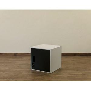 鍵付きロッカー/収納キャビネット 〔ブラック〕 幅38cm スチール製 縦横連結可 『キューブBOX』