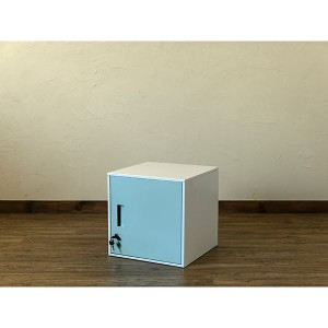 鍵付きロッカー/収納キャビネット 〔ブルー〕 幅38cm スチール製 縦横連結可 『キューブBOX』