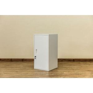 ハイタイプ 鍵付きロッカー/収納ラック 〔ホワイト〕 幅38cm スチール カギ×2個 棚板 転倒防止器具付き 連結可 『キューブBOX』