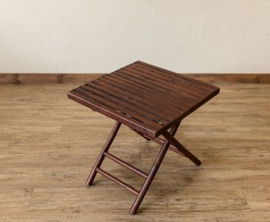クーポン進呈中【送料無料!ポイント2%】バンブー折畳みテーブル スクエア  サイドテーブル 竹 ミニテーブル 折りたたみ式 アジアン風