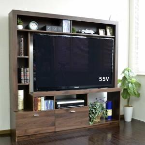 55インチ対応 テレビ台 ハイタイプ 壁面家具 ブラウン 収納家具 テレビ台・ローボード COLMAR165-BR テレビ台 テレビボード ハイタイプ