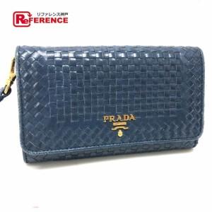 38af6a6df109 あす着 PRADA プラダ 1M1438 編み込み ストラップ付 長財布(小銭入れあり) ブルー