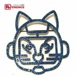 0585ed3587679a 新品同様 あす着 CHANEL シャネル キャットロボット 猫モチーフ B17S ブローチ ブルー