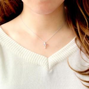 ネックレス レディース クロス ハート 十字架 ダイヤ 誕生石 シルバー テディベア ぬいぐるみ プレゼント 女性 送料無料