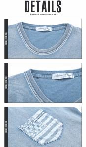 【インディゴ染め 星条旗柄 ポケット Tシャツ】Tシャツ メンズ 半袖 インディゴ 星条旗 半袖 夏 ビター系 デニム ラグスタイル pm-7281