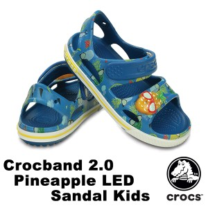 3174784d1f6495 【送料無料】クロックス(CROCS) クロックバンド 2.0 パイナップル LED サンダル キッズ サンダル
