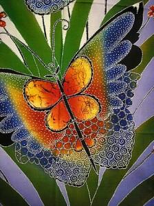 現代アート バティック 縦 M 『花と2羽の蝶々』 青 アジアン雑貨 バリ雑貨 インテリア 布類 ジャワ更紗 絵画 布地 メール便可