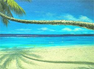 バリアート絵画 L 横 M.Santo 『椰子の木とSeaside』 [額横約63cmx縦53cm] エスニック バリ アジアン アジアン雑貨