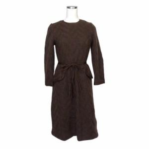 ee7df951448e9 La Mode アラ モード ウールモヘアロングワンピース (茶色 ドレス マキシ丈) 116705