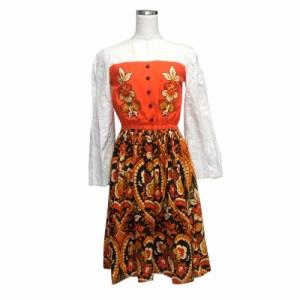 e409ce4669183 Vintage ヴィンテージ クラシック刺繍ボヘミアンワンピース (花柄 ロング ドレス レトロ古着 オールド) 119412