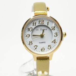 72295a1a20 腕時計 電池式クォーツ レディスウォッチ お洒落ゴールドベルト シンプルサークル 皮ベルト 3ヶ月保証