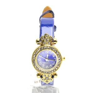 腕時計 電池式クォーツ レディスウォッチ お洒落ビジュー  ゴールドカラー ネイビー皮ベルトベルト 3ヶ月保証つき  f-kt155