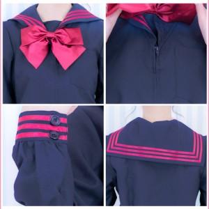 【即納】リボンセーラー服 コスプレ セーラー服3点セット ハロウィン 衣装 可愛い 大きい コスプレ セクシー 制服