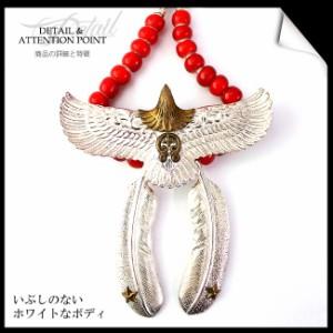 《good vibrations》シルバー925 ビッグイーグルネックレス ナジャ ホワイトシルバー ホワイトハート インディアンジュエリー