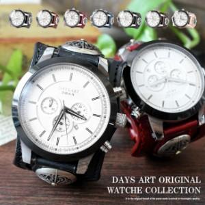 df98096ec4 腕時計 メンズ クロノグラフ 本革 サドルレザー イタリアンレザー ブレスウォッチ 生活防水 蓄光 箱