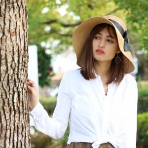 つば広 ハット レディース UV 帽子 ひよけ 春 夏 リボン 麦わら帽子 折り畳み 帽子 ストローハッ