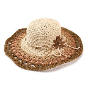 帽子 レディース ハット 夏 カラー切り替えパターン 麦わら帽子系 つば広 キャペリンハット ペーパーハット ベージュ系