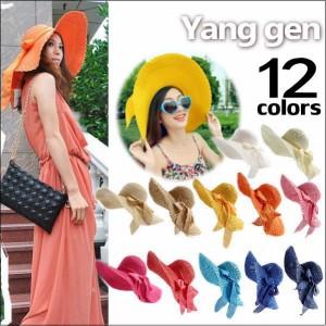 麦わら帽子 レディース つば広帽子 ストローハット 女優帽 リボンスカーフ UV リゾート