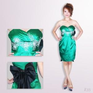 SD1302-014/キャバドレス/ビックリボン付き ベア胸元ビジュミニドレス
