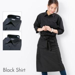 5d564101de9466 【送料無料】ワイシャツ 黒 レディース 形態安定 長袖 無地 黒シャツ 仕事着 制服