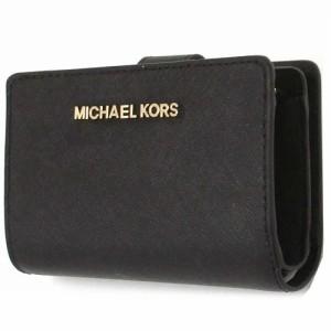 e1ce2ce18aef MICHAEL KORS マイケルコース アウトレット レザー 二つ折り財布 35F7GTVF2L BK