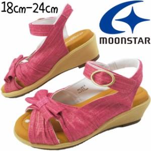 キッズ ジュニア 女の子 サンダル ムーンスター MoonStar J489 子供靴 シュガー アップルワンピース ウエッジソール