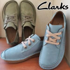 レディース レースアップシューズ クラークス Clarks 014D 本革 レザー オブリークトゥ カーキ ブルー