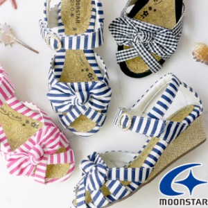 送料無料 キッズ ジュニア 女の子 ウェッジソール サンダル 人気 流行 定番 MoonStar SG C515 子供靴 ベルクロ アップルワンピース ボー