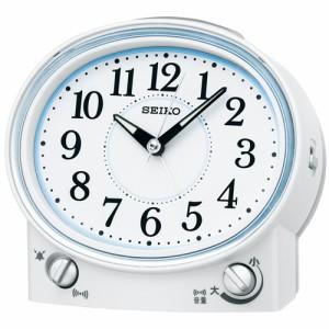 セイコー クロック 目覚まし時計 KR892W 音量調節機能付き 白パール アナログ