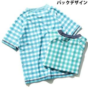 子供服 [UV加工!ギンガムチェック半袖ラッシュガード スイムウェア 日焼け対策] 水着 M1-3