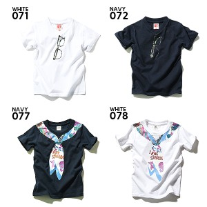 子供服 Tシャツ キッズ 韓国子供服 男の子 女の子[全20柄 フェイク&メガネ&サングラスプリント半袖Tシャツ ] ×送料無料 M1-4