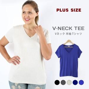 Tシャツ レディース 大きいサイズ 半袖 無地 Vネック カジュアル 黒 かっこいい カットソー