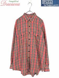3cfe737f77d594 レディースシャツ古着 POLO by Ralph Lauren ラルフ チェック サーモンピンク コットン混 長袖 シャツ L