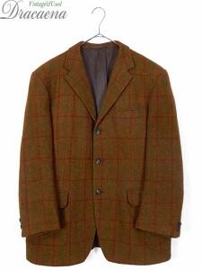 古着 ジャケット 70s Harris Tweed ハリス ツイード クラシック チェック ウール テーラード ジャケット 42位 古着