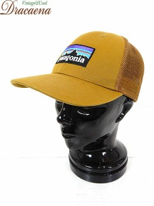 古着 帽子 16s Patagonia パタゴニア ロゴ BIG 刺しゅう メッシュ キャップ Free 雑貨 古着 美品!