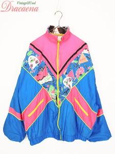 ddb68a8a8aa 古着 レディース ジャケット 蛍光 ピンク ブルー 柄 ナイロン ブルゾン スポーツ 個性派 ドルマン 古着