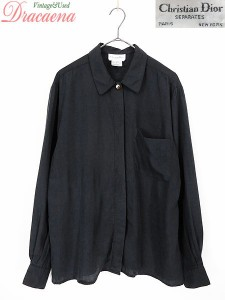 cc0d45dfa6d27 古着 レディース シャツ Christian Dior クリスチャンディオール レーヨン ブラック シンプル ゆるシャツ 古着