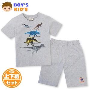【送料無料】男児 キッズ 綿混 半袖 Tシャツスーツ 上下組 恐竜プリント ウエストゴム 装飾ワッペン ポケット 子供服 男の子 100cm 110cm