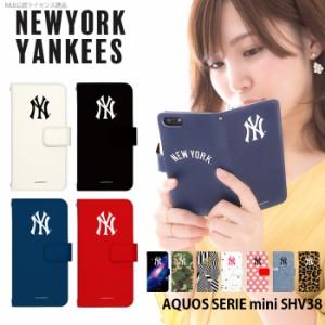 AQUOS SERIE mini SHV38 ケース 手帳型 スマホケース デザイン NY ヤンキース MLB アクオス