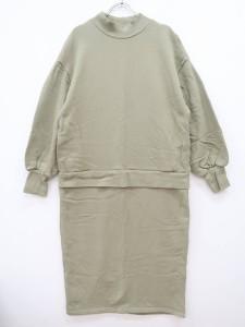 LOWRYS FARM(ローリーズファーム)[2020]ウラケドッキングワンピース 長袖 緑 レディース Aランク F [委託倉庫から出荷]