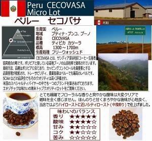 お試し100g【レギュラー珈琲豆】ペルー セコバサ/シティ(中煎り)/柔らかスイートな香りと味わい