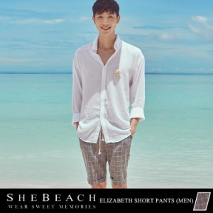 メンズ ハーフパンツ 単品 大人 韓国 SHEBEACH シービーチ かっこいい おしゃれ ショートパンツ ショーパン 短パン 男性用 チェック柄