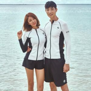 即納 水着 メンズ 長袖 ラッシュガード ハーフパンツ 2点セット 韓国 シービーチ サーフィン スポーツ 短パン ジップアップ 男性用