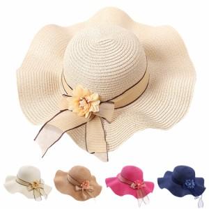 麦わら帽子 ストローハット レディース つば広ハット 無地 お花 コサージュ リボン 春夏 おしゃれ かわいい あごひも フェミニン 上品 紫