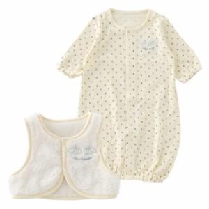 2d18bb19cf1b2 ベスト付き新生児ツーウェイオール ベビー服  赤ちゃん  ベビー  ツーウェイ